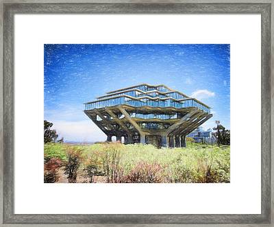 Ucsd Library Drawing Framed Print by Nancy Ingersoll