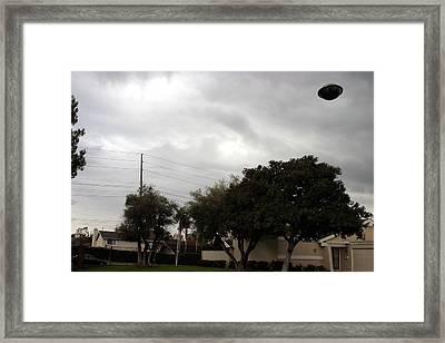 Ufo Over My Neighborhood  Framed Print by Michael Ledray