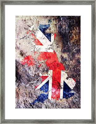 Uk Flag Map Framed Print by Michael Tompsett