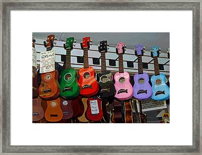 Ukeleles For Sale Framed Print by Suzanne Gaff