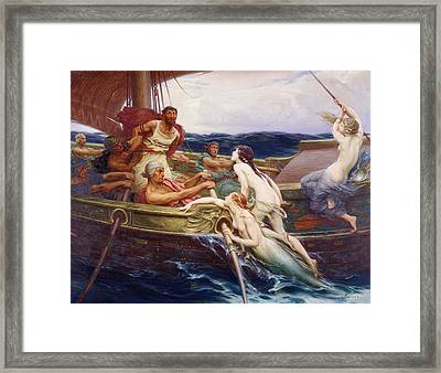 Ulysses And The Sirens Framed Print by Herbert James Draper