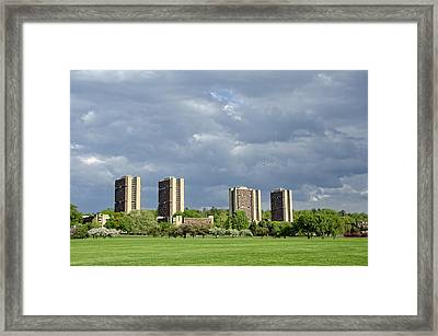Umass Southwest Towers Framed Print by Donna Doherty