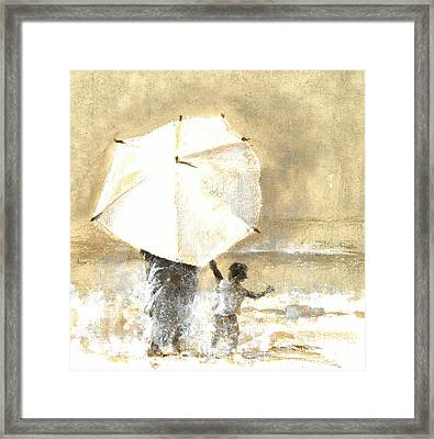 Umbrella And Child Two Framed Print by Lincoln Seligman
