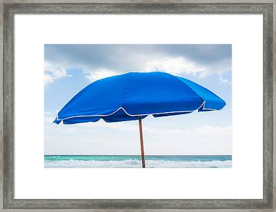 Umbrella On The Beach Framed Print by Shelby  Young