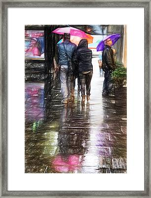 Umbrellas Framed Print by HD Connelly