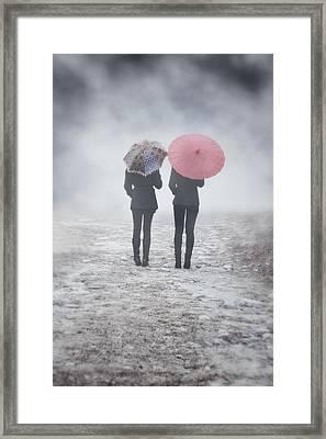 Umbrellas In The Mist Framed Print by Joana Kruse