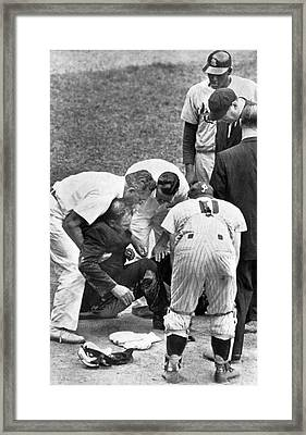 Umpire Down From Foul Tip Framed Print by Underwood Archives
