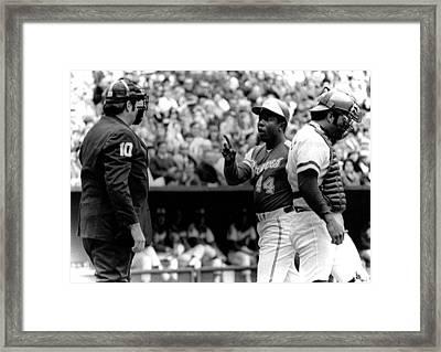 Umpire John Mcsherry Listens To Hank Framed Print by Everett