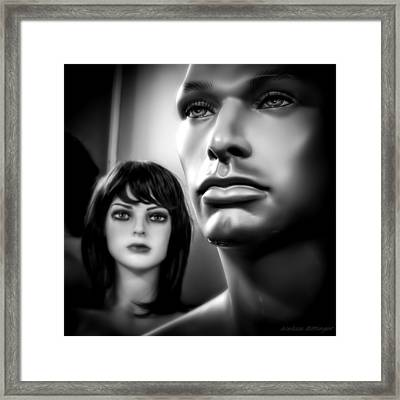 Unattainable Love Mannequins Black And White Framed Print by Melissa Bittinger