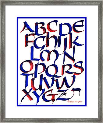 Uncial Alphabet In Red And Blue Framed Print by Deborah Willard
