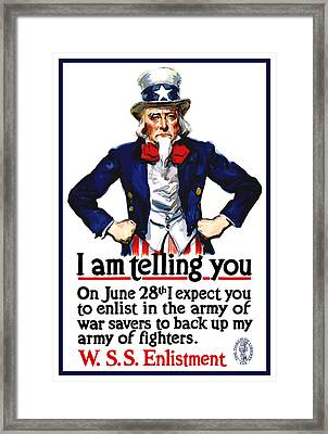 Uncle Sam -- I Am Telling You Framed Print by War Is Hell Store