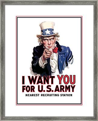 Uncle Sam -- I Want You Framed Print by War Is Hell Store