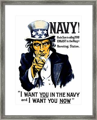 Uncle Sam Wants You In The Navy Framed Print by War Is Hell Store