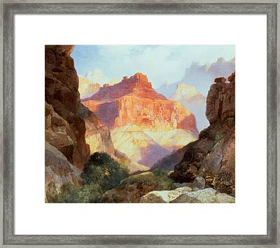Under The Red Wall Framed Print by Thomas Moran