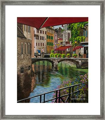 Under The Umbrella In Annecy Framed Print by Charlotte Blanchard
