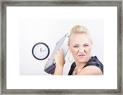 Unhappy Business Person Throwing Office Fit Framed Print by Jorgo Photography - Wall Art Gallery