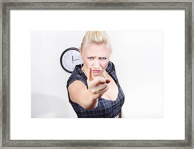 Unhappy Manger Pointing Finger Of Blame At Worker Framed Print by Jorgo Photography - Wall Art Gallery