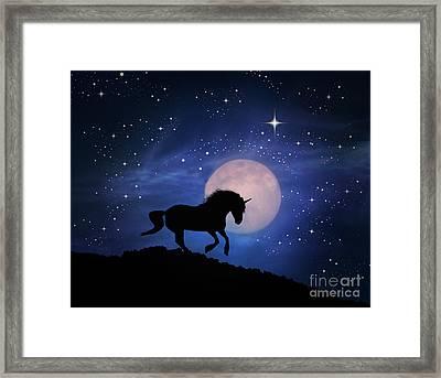 Unicorn And Moon Framed Print by Stephanie Laird