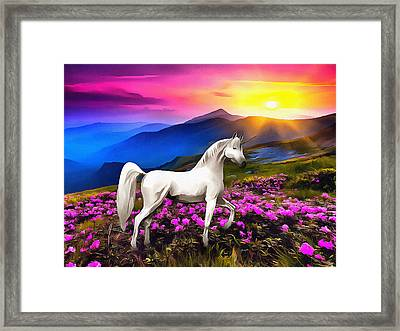 Unicorn At Sunset Framed Print by Anthony Caruso