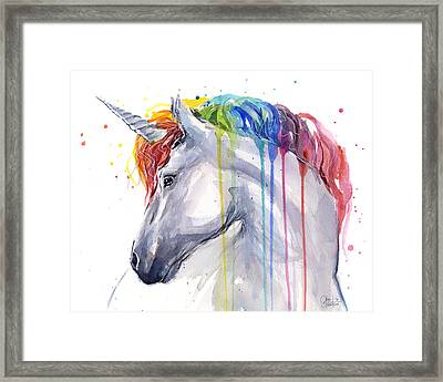 Unicorn Rainbow Watercolor Framed Print by Olga Shvartsur