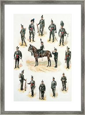 Uniforms Of The Rifle Brigade Framed Print by Richard Simkin