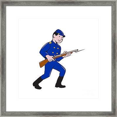 Union Army Soldier Bayonet Rifle Cartoon Framed Print by Aloysius Patrimonio