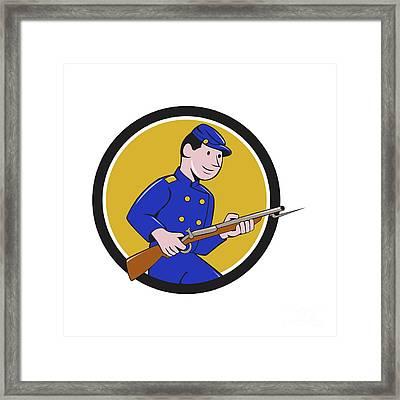 Union Army Soldier Bayonet Rifle Circle Cartoon Framed Print by Aloysius Patrimonio
