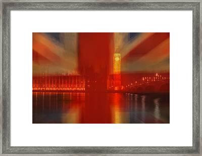 Union Jack Over London Framed Print by Andrew Soundarajan