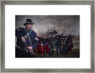 Union Soldier Reenactors Framed Print by Randall Nyhof