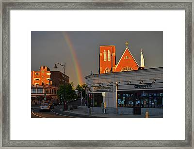 Union Square Somerville Rainbow Framed Print by Toby McGuire