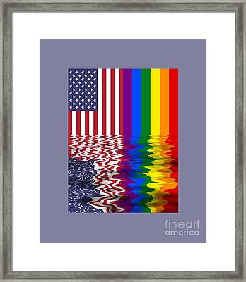 United States And Rainbow Flags Reflected Framed Print by Frederick Holiday