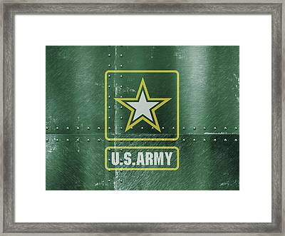 United States Army Logo On Green Steel Tank Framed Print by Design Turnpike
