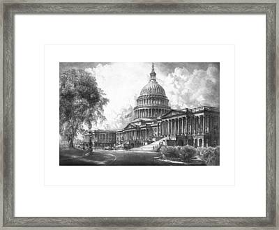 United States Capitol Building Framed Print by War Is Hell Store