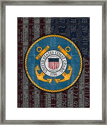 United States Coast Guard Logo Recycled Vintage License Plate Art Framed Print by Design Turnpike