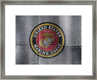 United States Marines Logo On Riveted Steel Framed Print by Design Turnpike