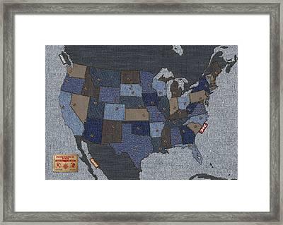 United States Of Denim Framed Print by Michael Tompsett