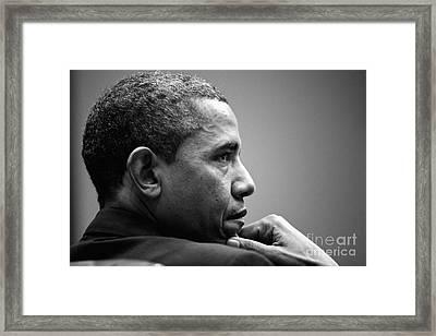 United States President Barack Obama Bw Framed Print by Celestial Images