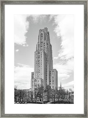 University Of Pittsburgh Cathedral Of Learning Framed Print by University Icons