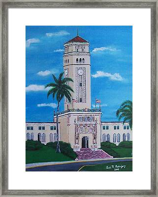 University Of Puerto Rico Tower Framed Print by Luis F Rodriguez