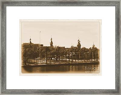 University Of Tampa - Old Postcard Framing Framed Print by Carol Groenen