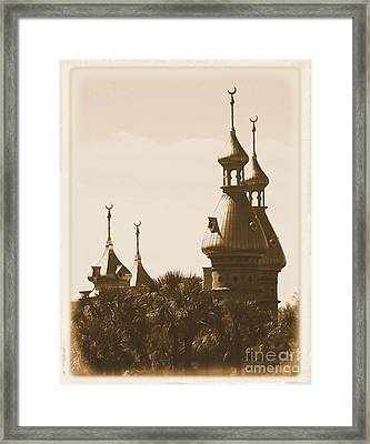 University Of Tampa Minarets With Old Postcard Framing Framed Print by Carol Groenen