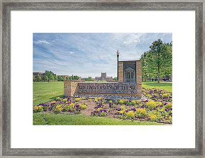 University Of Tulsa Mcfarlin Library Framed Print by Roberta Peake
