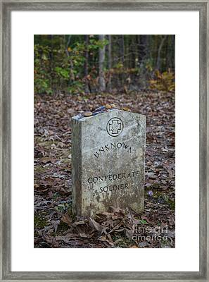 Unknown Confederate Soldier - Natchez Trace Framed Print by Debra Martz
