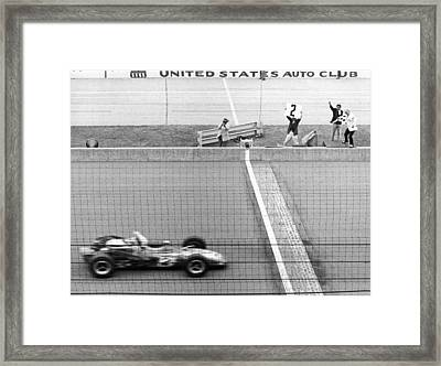 Unser Wins Indie 500 Framed Print by Underwood Archives