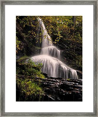 upper portion of Cathedral Falls Framed Print by Chris Flees