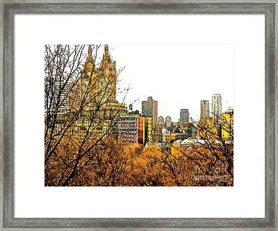 Urban Autumn In Nyc Framed Print by Linda  Parker