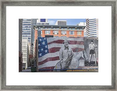 Urban Landscape Of Denver Colorado Framed Print by Juli Scalzi