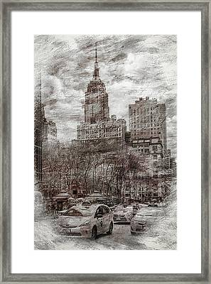 Digital Manipulation Framed Print featuring the digital art Urban Rush by Az Jackson