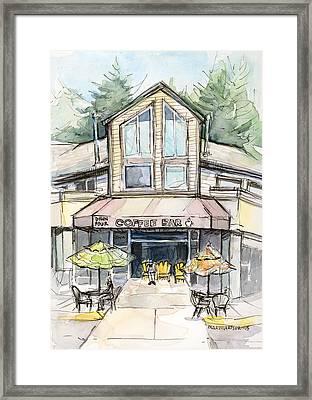 Coffee Shop Watercolor Sketch Framed Print by Olga Shvartsur