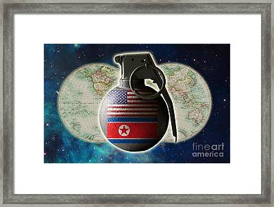 U.s. And North Korean Conflict Framed Print by George Mattei